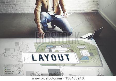Layout Blueprint Design Construction Editing Concept