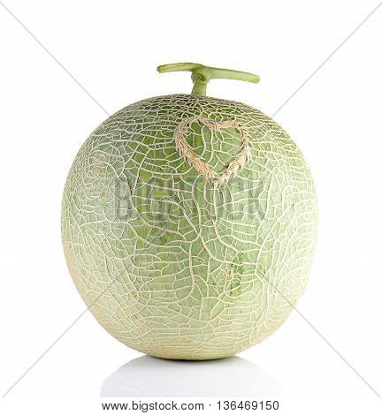 Melon heart pattern isolated on white background.