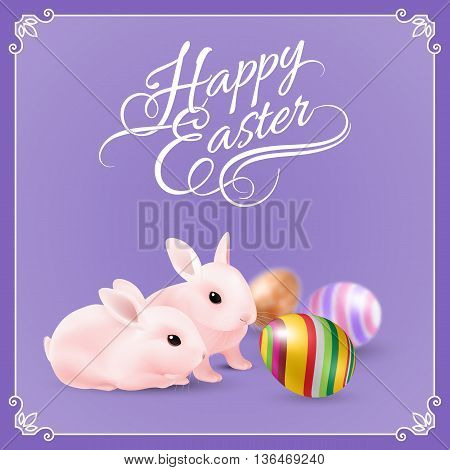 Two Easter Bunny and Easter Eggs on Violet Background