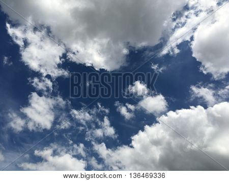 Background nature blue sky with white clouds