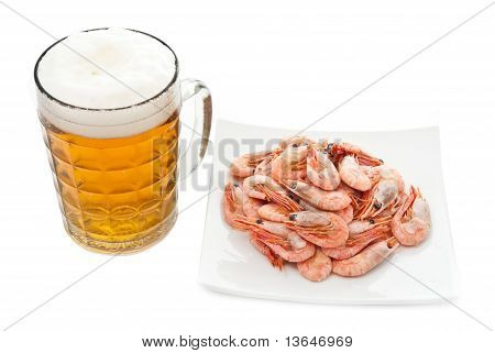 Beer In Glass And Prawns