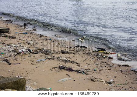 Garbage on a beach environmental pollution concept picture.