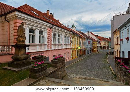 TRENCIN, SLOVAKIA - JUNE 19, 2016: Street in the old town of Trencin, Slovakia on June 19, 2016.