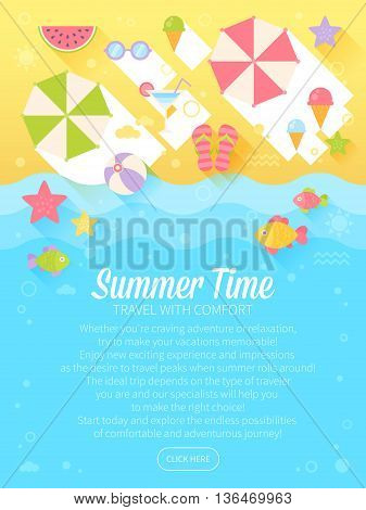 Summer Banners With Flat Travel Elements