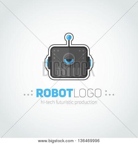 Robot Head Logotype In Flat-style