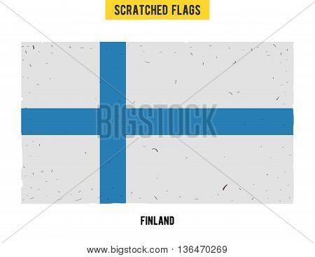 Finnish grunge flag with little scratches on surface. A hand drawn scratched flag of Finland with a easy grunge texture. Vector modern flat design.