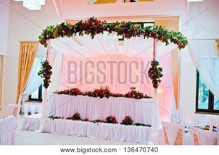 Great Wedding Table Of Newlyweds On Restaurant