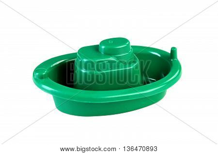 plastic boat toy isolated on white background