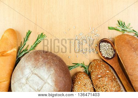 fresh home-baked bread on a wooden board