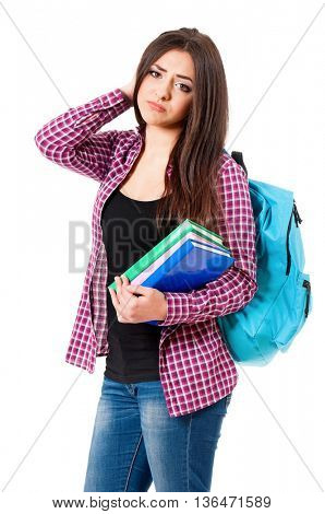 Depression teen student girl with backpack and books, isolated over white background