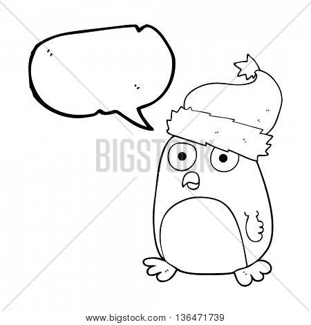 freehand drawn speech bubble cartoon penguin in christmas hat