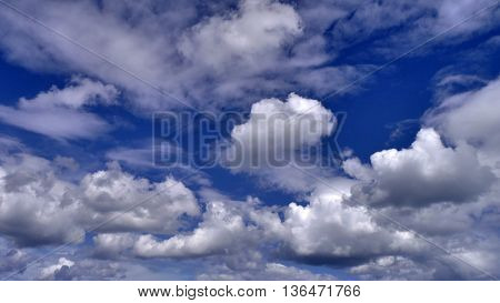 Dramatic cloud pattern in blue sky