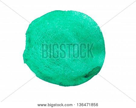 Green watercolor round isolated on white background.