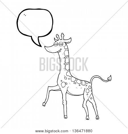 freehand drawn speech bubble cartoon giraffe