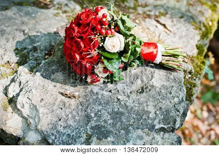 Wedding Bouquet With White And Red Roses