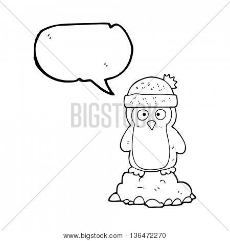 freehand drawn speech bubble cartoon penguin wearing hat