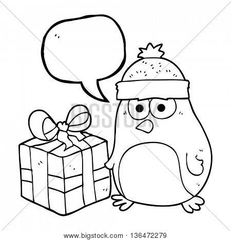 freehand drawn speech bubble cartoon christmas robin