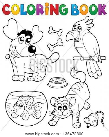Coloring book with pets 4 - eps10 vector illustration.