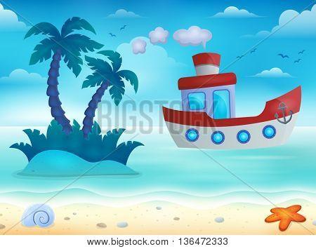 Nautical boat near coast image 1 - eps10 vector illustration.