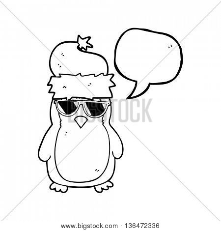 freehand drawn speech bubble cartoon cool christmas robin