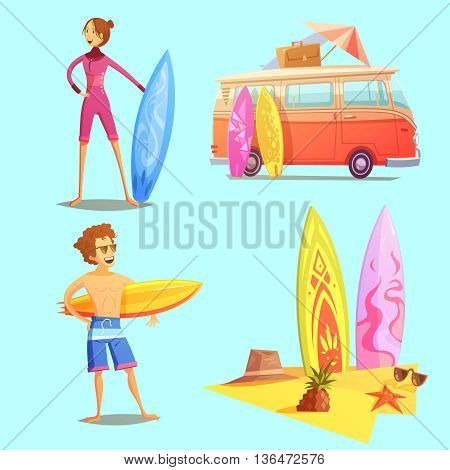 Surfing retro cartoon 2x2 icons set with surfers bus and surfboards on beach flat retro cartoon isolated vector illustration