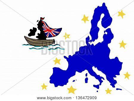 Britain leaves European Union image map with stars