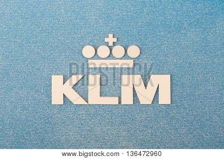 LELYSTAD THE NETHERLANDS - JUNE 9; Logo of the dutch KLM royal dutch airlines company founded in 1919.