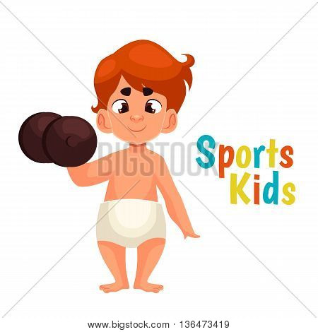 baby in diapers with a dumbbell, cartoon comic illustration isolated on a white background, a strong baby kantele raises one hand, the infant the winner in the sport, a great willpower