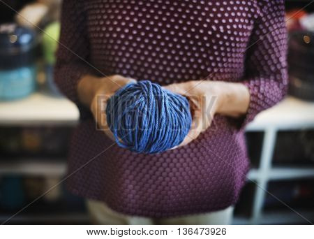 Holding Yarn Knitting Handcraft Crochet Concept