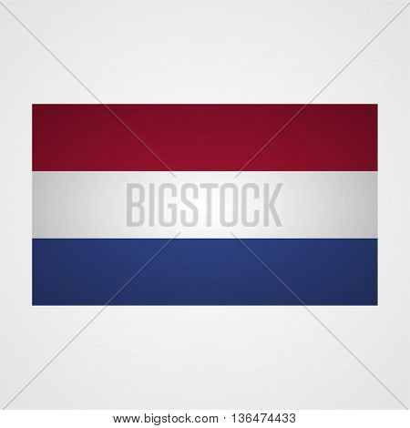 Netherlands flag on a gray background. Vector illustration