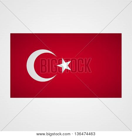 Turkey flag on a gray background. Vector illustration