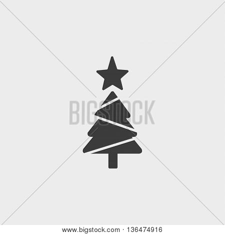 Christmas tree icon in a flat design in black color. Vector illustration eps10