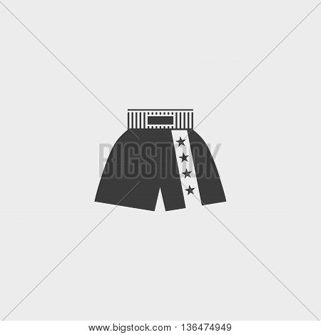 boxer shorts icon in a flat design in black color. Vector illustration eps10