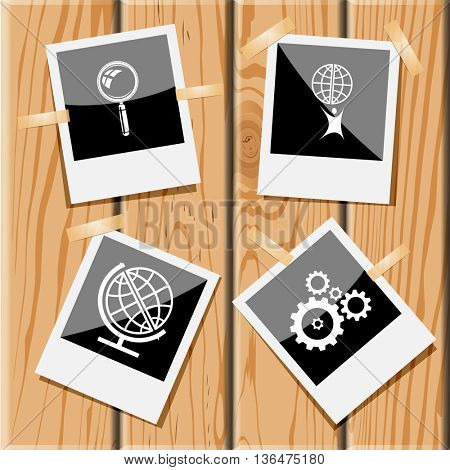 4 images: magnifying glass, little man with globe, gears, school globe. Science set.Photo frames on wooden desk. Vector icons.