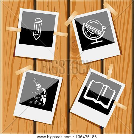 4 images: pencil, globe and loupe, lab microscope, book. Education set. Photo frames on wooden desk. Vector icons.