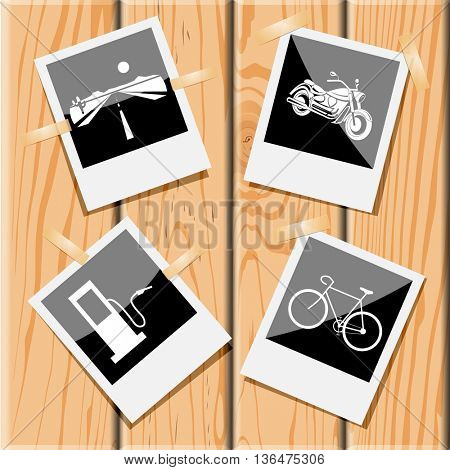 4 images: road, motorcycle, bicycle, fueling station. Transport set. Photo frames on wooden desk. Vector icons.