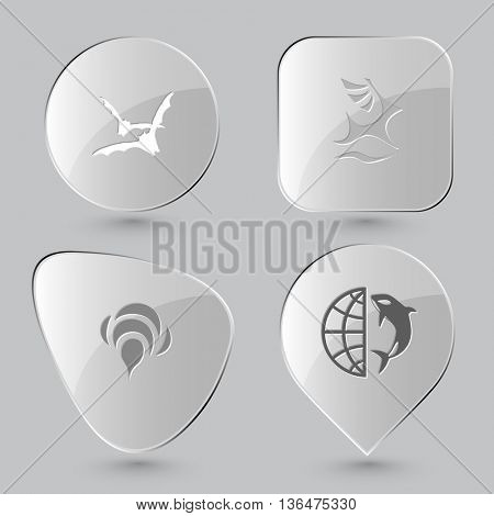 4 images: bats, deer, bee, globe and shamoo. Animal set. Glass buttons on gray background. Vector icons.