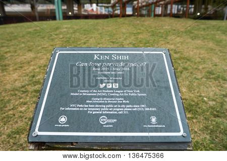 NEW YORK - CIRCA MARCH 2016: close up shot of information plate in the park at New York. The City of New York is the most populous city in the United States.