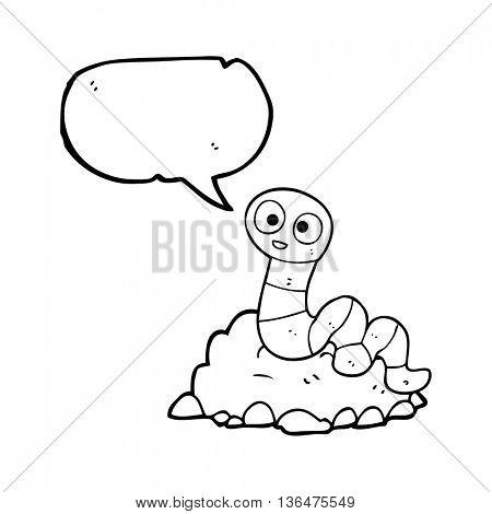 freehand drawn speech bubble cartoon earthworm