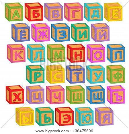 alphabet russian blocks - vector illustration, eps