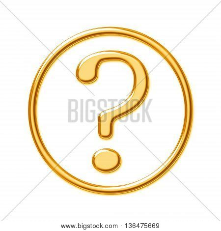 Golden question mark in a circle on a white background