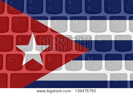 Restricted Internet access in Cuba The Cuban flag on a computer keyboard,3D Illustration