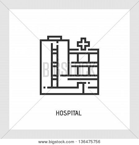 Hospital icon. Medicine and health care concept. Modern thin line sign. Premium quality outline pictogram. Stock vector illustration in flat design.