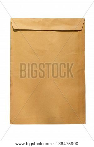 Brown closed A4 document envelope on white background