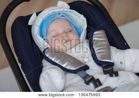 Sleeping baby. Portrait of cute sleeping baby