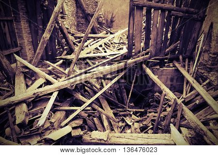 Rubble And The Ruins Of The House  Destroyed By Powerful Earthqu