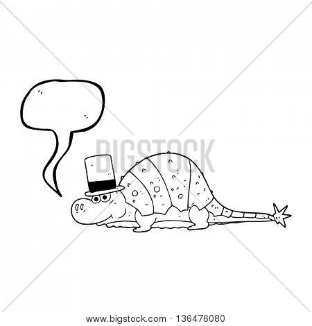 freehand drawn speech bubble cartoon dinosaur in top hat
