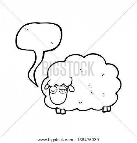 freehand drawn speech bubble cartoon muddy winter sheep
