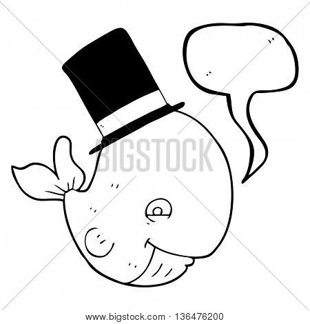 freehand drawn speech bubble cartoon whale in top hat