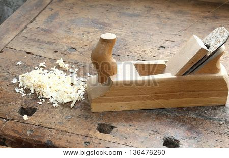 Planer With Sawdust On The Workbench